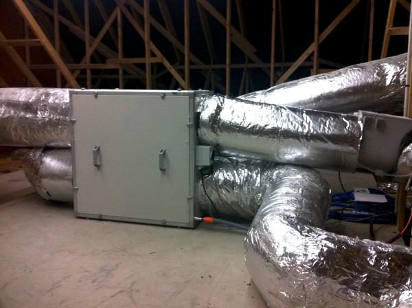 Installation d'une venitlation double flux dans un bâtiment tertiaire à chatillon sur seine par les électriciens hatterer à Langres